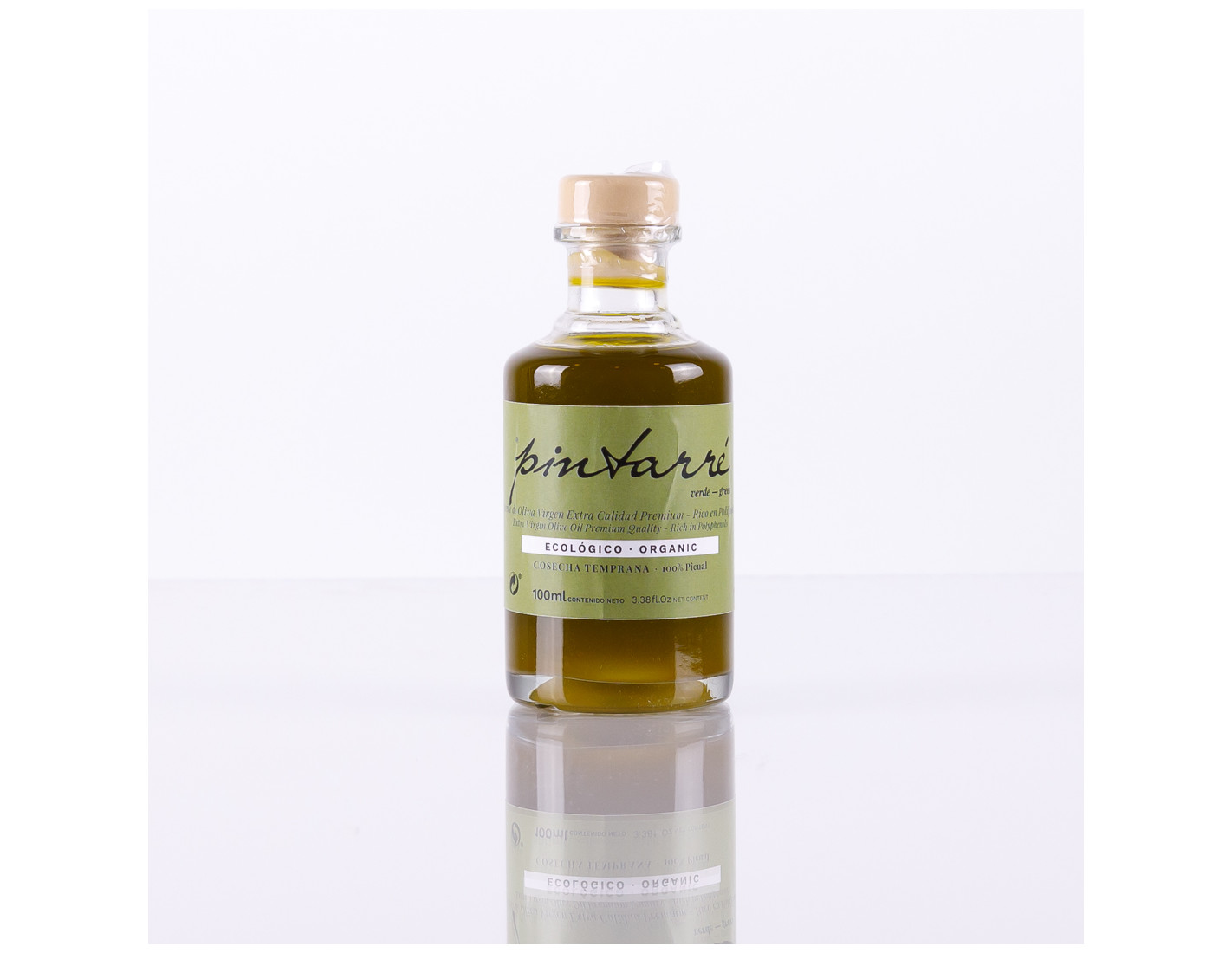 Pintarré verde. Caja 30 botellas 100 ml. Aceite de oliva virgen extra ecológico verde. Recolección temprana del mes de octubre