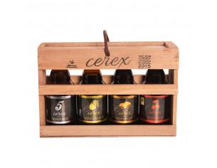 Caja Regalo presentación en madera 4 cervezas artesanales Cerex 33 cl (Pilsen, Ibérica de Bellota, Cereza, Castaña)
