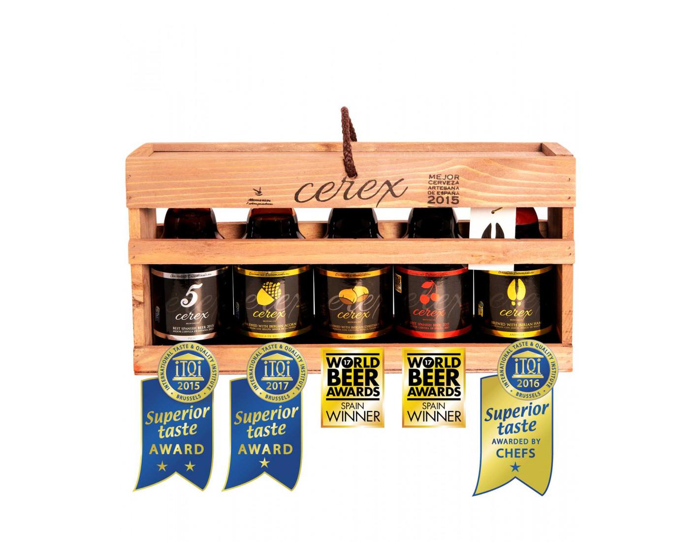 Caja Regalo presentación en madera 5 cervezas artesanales Cerex 33 cl (Pilsen, Ibérica de Bellota, Cereza, Castaña, Andares)