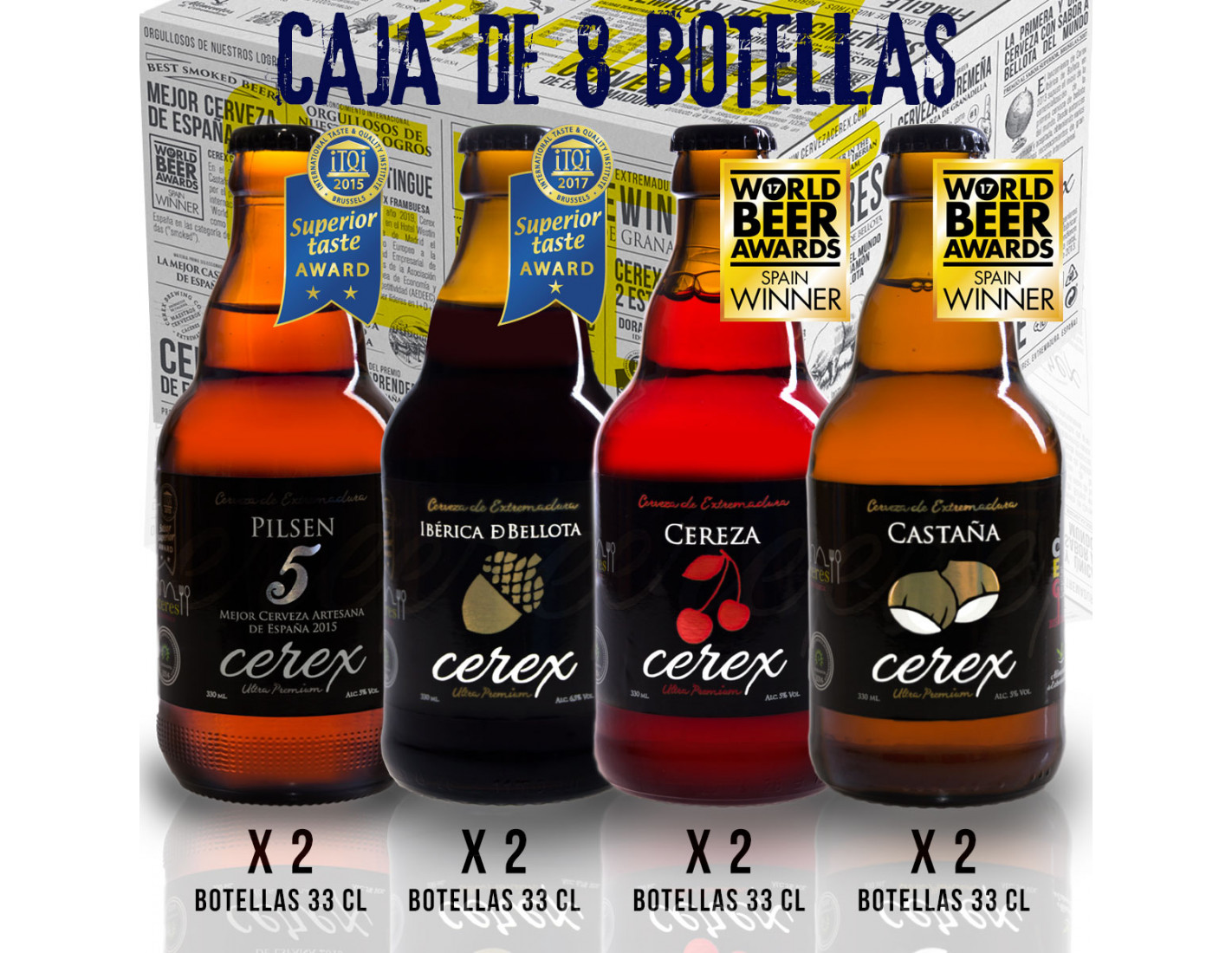 Pack 8 cervezas artesanales Cerex 33 cl. (2 bot. Pilsen, 2 bot. Ibérica de Bellota, 2 bot. Castaña, 2 bot. Cereza)