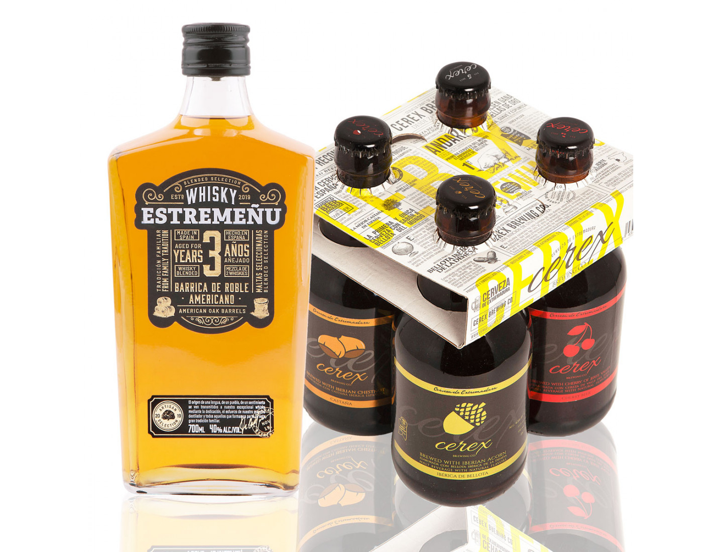 Pack 4 cervezas artesanales Cerex 33 cl + Whisky Estremeñu 700 ml