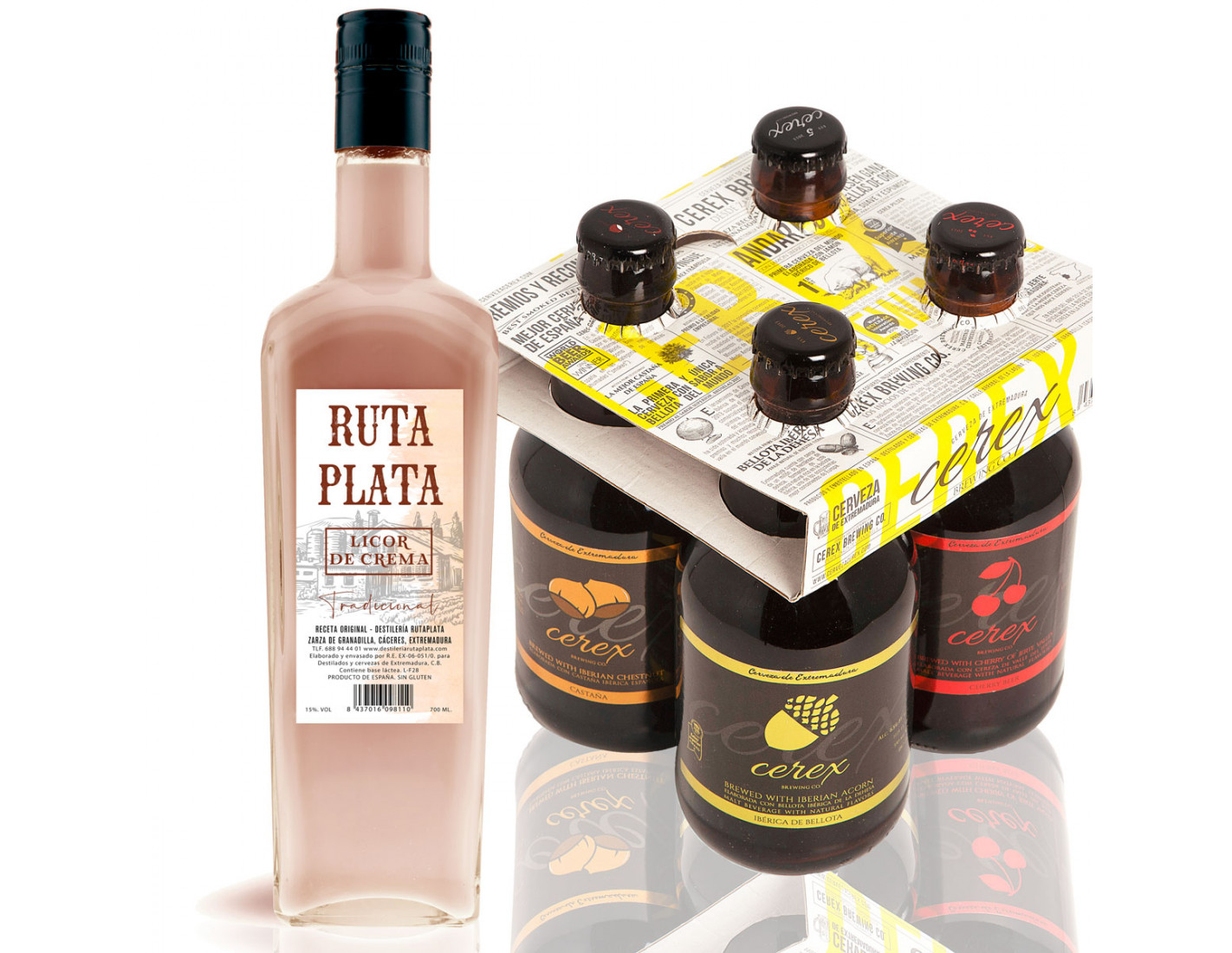 Pack 4 cervezas artesanales Cerex 33 cl + Crema de Orujo RutaPlata 700 ml