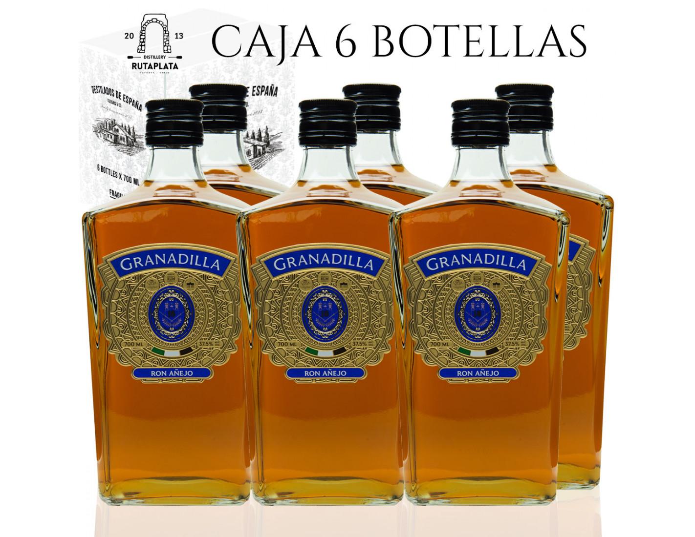 "Pack 6 botellas  Ron Añejo Granadilla 700 ml - Selección Superior 18 meses ""Medalla de Oro Virtus Lisboa 2019"""
