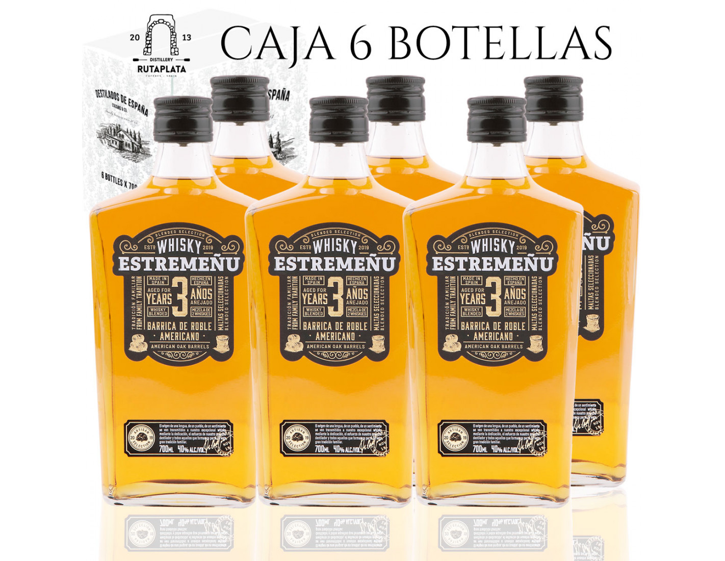 Pack 6 botellas Whisky Estremeñu 700 ml Blended Selección Superior 36 meses