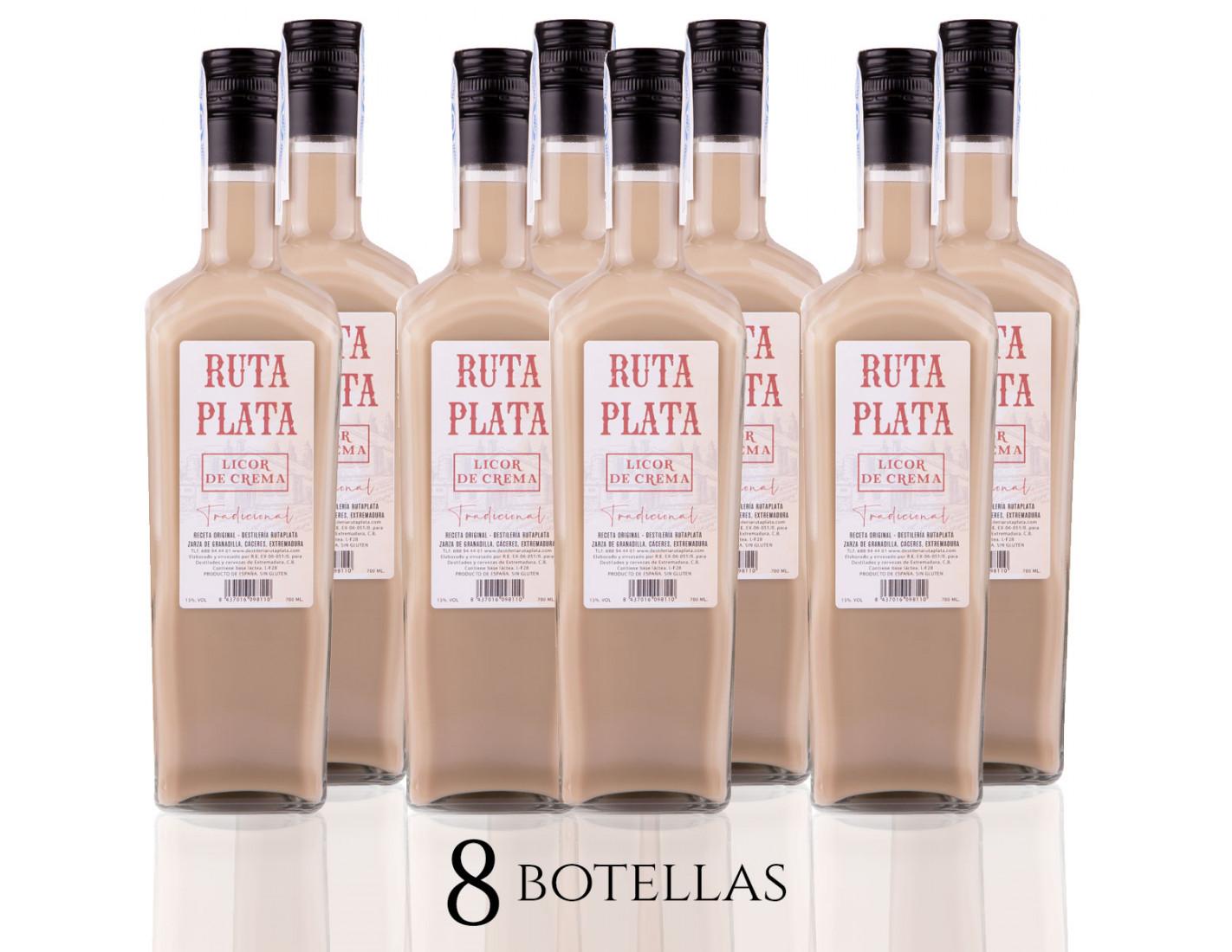 Pack 8 Crema de Orujo RutaPlata 700 ml - Licor de Crema