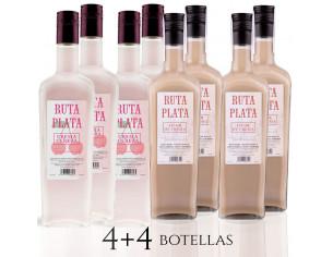 Pack 4 bot. Crema Orujo RutaPlata 700 ml + 4  bot. Crema de Cereza RutaPlata 700 ml